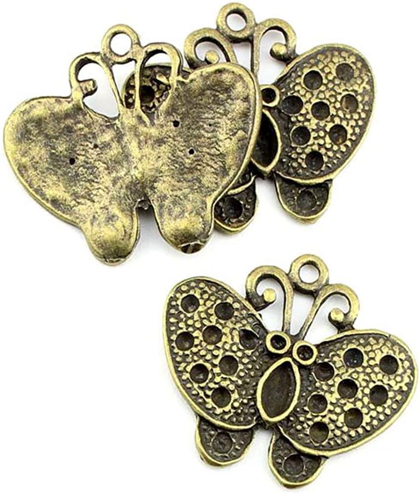 B62279 Butterfly Ancient Antique Bronze Jewelry Making Cheap mail low-pricing order shopping C Fashion