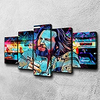 5 Piece Canvas Painting The Big Lebowski Dude Poster Prints Framed Wall Art Pictures for Living Room Home Decor