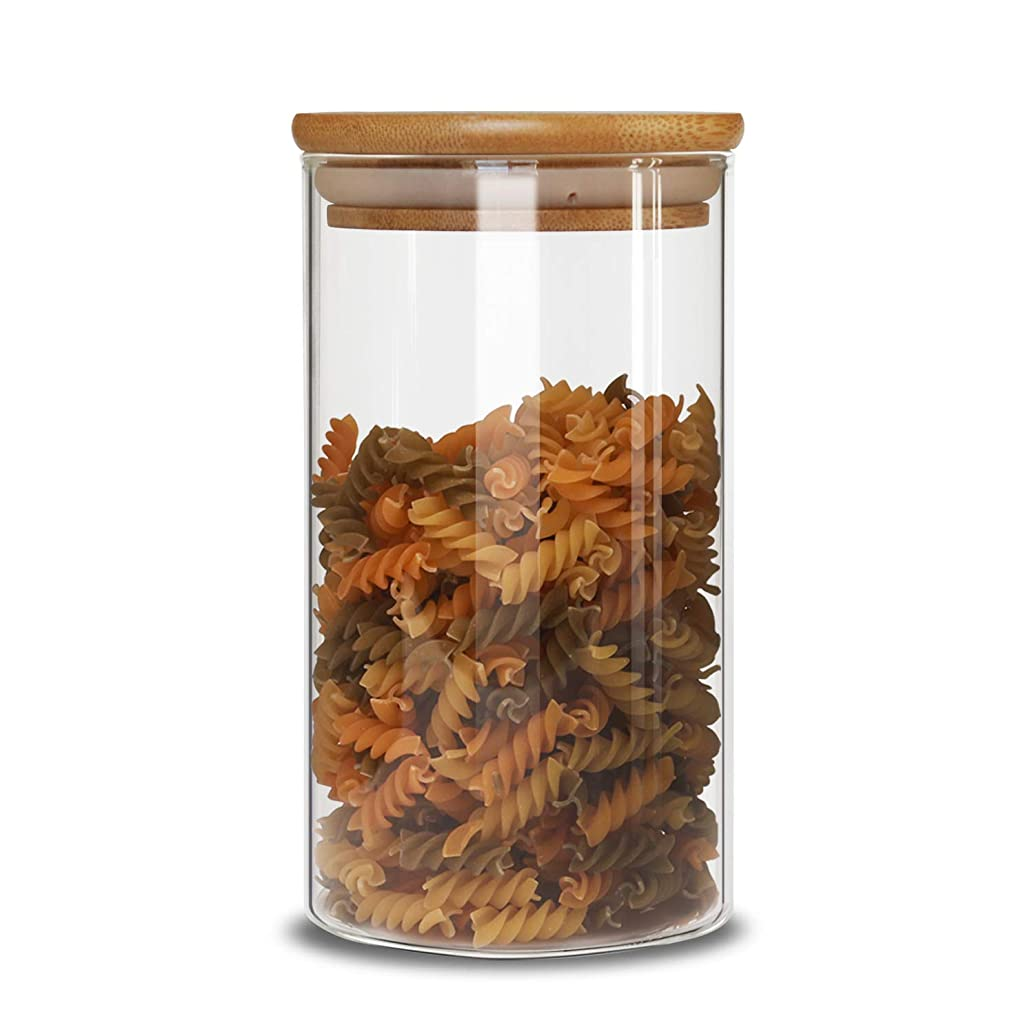 IDEALUX Glass Food Storage Containers 43FL OZ (1280ML) with Lids by Kitchen Canisters ,Candy, Cookie and Spice Jars or Flour Container Big and Small Airtight Food Jar for Pantry