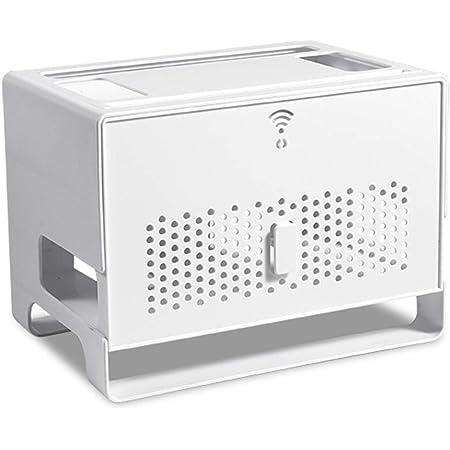 MNBVH Caja de Almacenamiento Router WiFi, Caja para Router y Cables Zócalo Blindaje Caja, Ocultar TV Cables Decoracion Cajas, Estantes de Router, Router Rack White