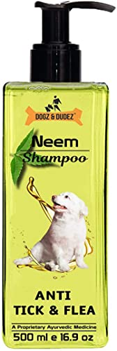Dogz & Dudez Dog Shampoo Anti Tick & Flea | Natural Neem & Lemongrass Oil ● Reduce Itching, Insect Repellent ● 500 ml...