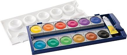 Pelikan DIN 5023 Deckfarbkasten K12, 12 Farben + 1 Tube Deckweiß, Schul-Standard