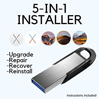 MacOS Install Disk 5-in-1 - Mojave, High Sierra, Sierra, El Capitan, Yosemite / Upgrade, Repair, Recover, Reinstall Mac OS X
