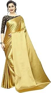 Blue Wish Women's Plain Sof Satin Silk Saree With Fancy Designer Jacquard Blouse Piece