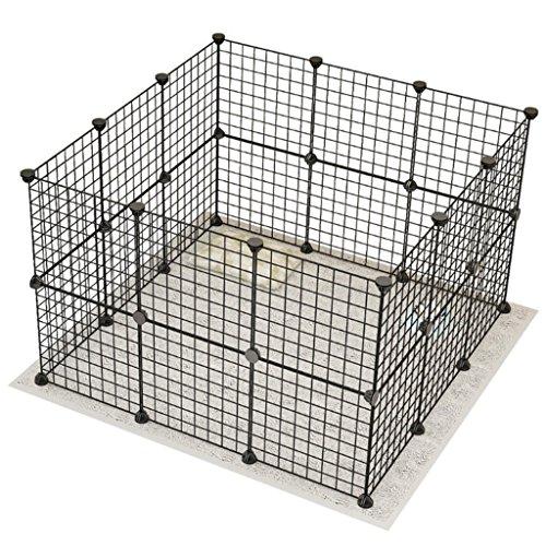 Barrière de sécurité Grands Parcs extérieurs de Chien extérieurs d'intérieur pour Le Chien Moyen, Maison Noire de barrière d'animal familier, Panneau modulaire de chenil de la boîte 24