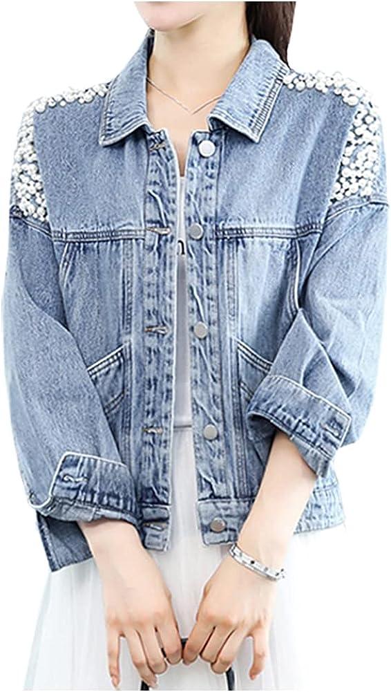 SCOFEEL Women's Oversized Distressed Denim Jacket Pearls Sequin Long Sleeve Jean Coat