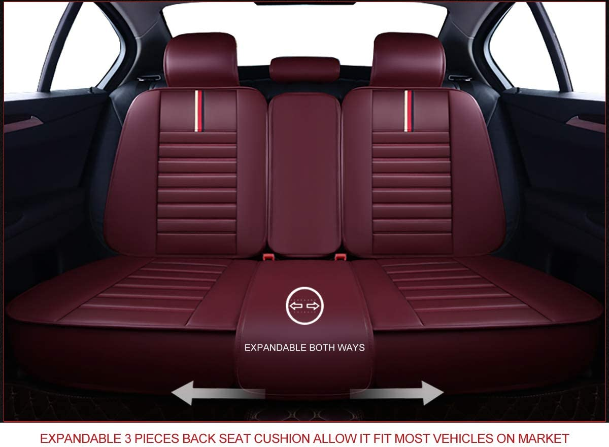 Faux Leatherette Automotive Vehicle Cushion Cover for Cars SUV Pick-up Truck Universal Fit Set for Auto Interior Accessories Front Pair, Burgundy OASIS AUTO OS-001 Leather Car Seat Covers