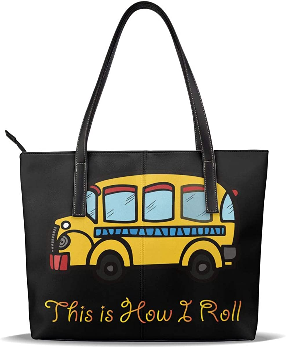 Credence How I Roll School Bus Pu Leather Quality inspection Pattern Handbags Casual Printed