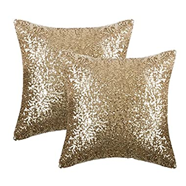 PONY DANCE Shiny Sparkling Sequins Pillow Covers Comfy Satin Cushion Covers Pillowcases Bling Sequins Party/Christmas Hidden Zipper Design,18-inch 18-inch,2 Packs,Light Gold