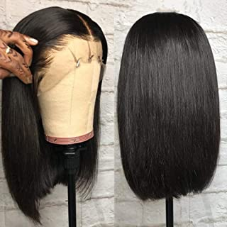 BLISSHAIR Human Hair Wigs 14 pulgada(35.56cm)Short Bob Wig Glueless Lace Front Wigs Straight 130% Density Brazilian Remy Hair Extensions Natural Black For Woman