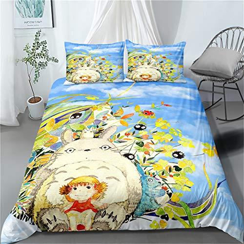 Amacigana Bettwäsche-Set, 3-teilig, Anime, 3D-Druck, Cartoon, Anime, Tonari no Totoro, 100 % Mikrofaser, Bettbezug und Kissenbezug (A01,135 x 200 cm)