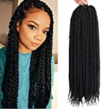 Admutty Havana Mambo Twist Crochet Hair 6 Packs 22 inch Crochet Braids Senegalese Twist Crochet Braiding Hair (1B#)