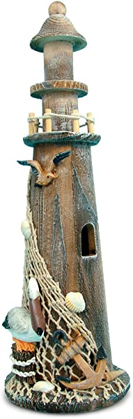 Puzzled Wooden Brown Lighthouse 14 Inch Tabletop Figure Accent Intricate Meticulous Detailing Wood Art Handcrafted Hand Painted Tower Figurine Decoration Nautical Beach Themed Home D Cor Accessory