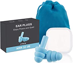 Ear Pugs for Sleeping, 2 Pairs Noise Cancelling Sound Blocking Earplugs Reusable Noise Reduction for Musicians Concerts Si...