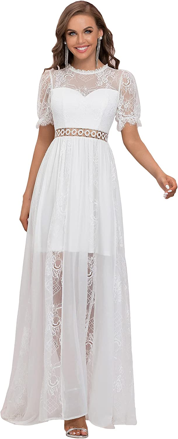 Ever-Pretty Women's A-line Short Sleeves Lace See-Through Floor-Length Wedding Dress 2021 90321