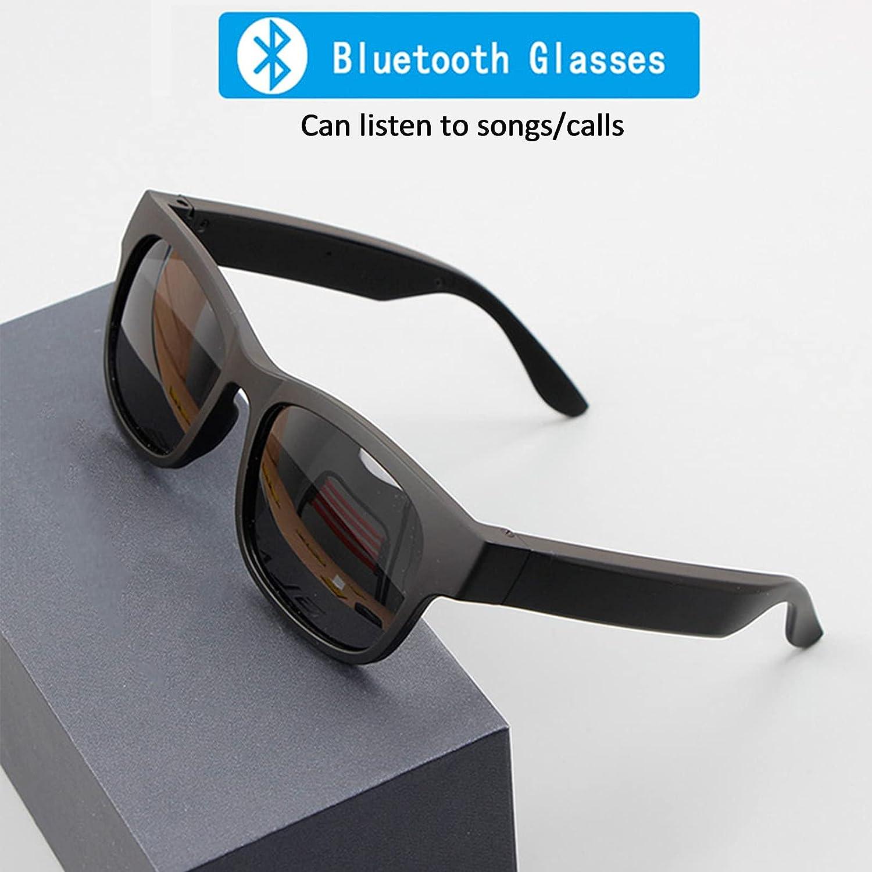 FRIBLSKEL Multifunctional Bluetooth Glasses,Smart Unisex Sunglasses Open Ear Speaker Listen Music Make Phone Calls,230Mah Battery(Standby 7 Days) IPX4 Waterproof Earphone for Men&Women,Blue