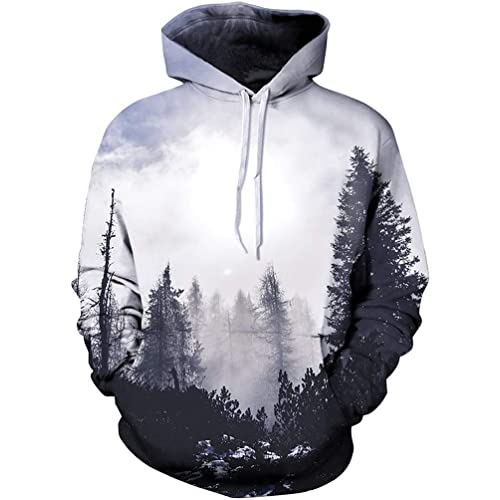Hoodies Sweatshirt Pockets Tree,Winter Snowy Forest Cold,Zip up Sweatshirts for Women