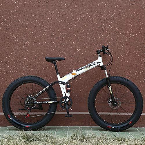 9S Fast Opvouwbaar Mountain Bike, 24 Inch 7/21/24/27 Snelheid, Variabele snelheid Disc Brake schokabsorptie, Verbrede Grote Tire Gift Fiets voor Vrouwen