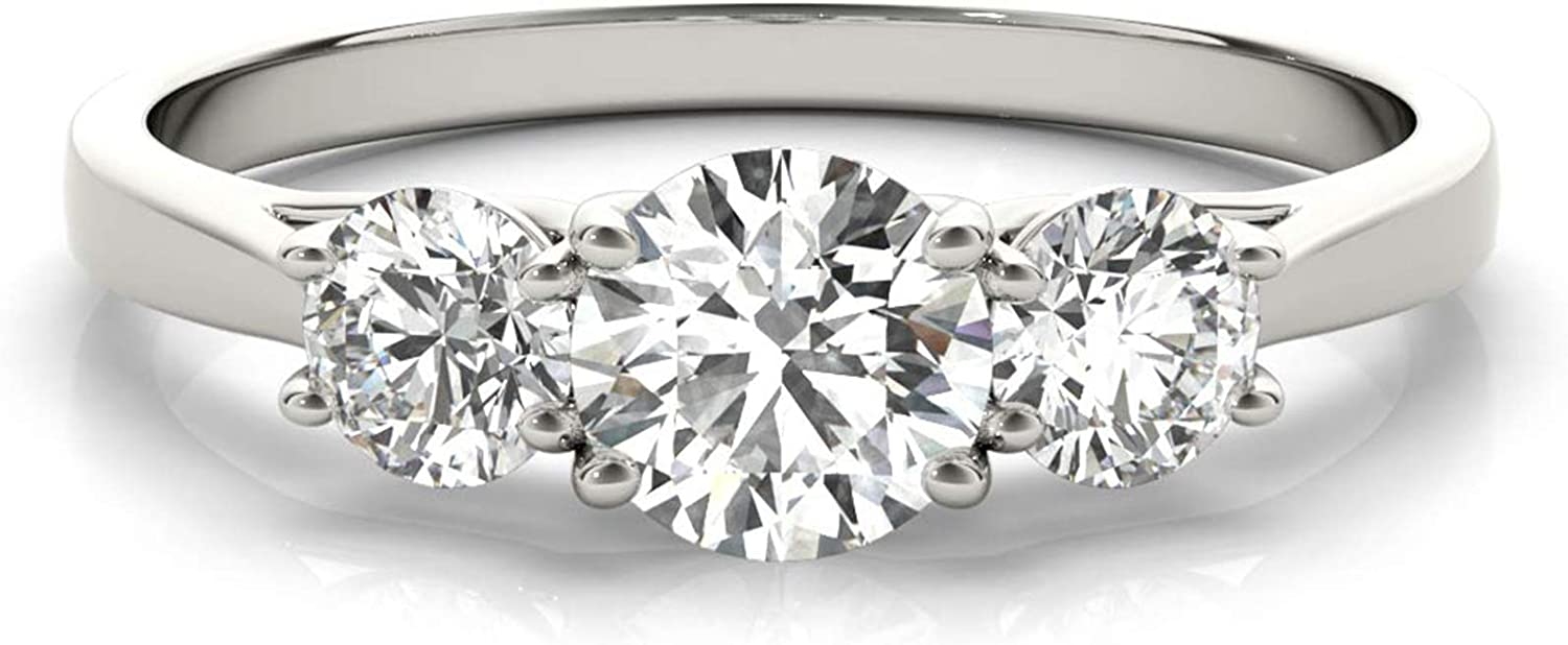 14k White Gold Lab-Grown Diamond 3 Stone Wedding Engagement Ring (1.00 cttw, I-J Color, VS2 Clarity)