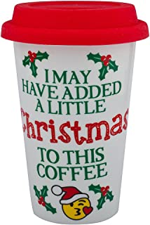 Lux Accessories Happy Holidays Christmas Sippy Hot Coffee Drink Cold 8OZ Cup Santa Mistletoe Happy
