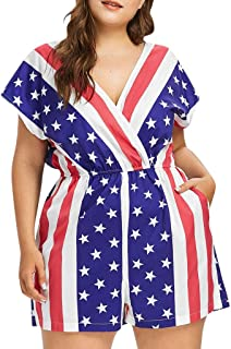 youul Women Ladies 4th July Independence Day Stars Stripe Flag Print Plus Size Romper Jumpsuit Shorts