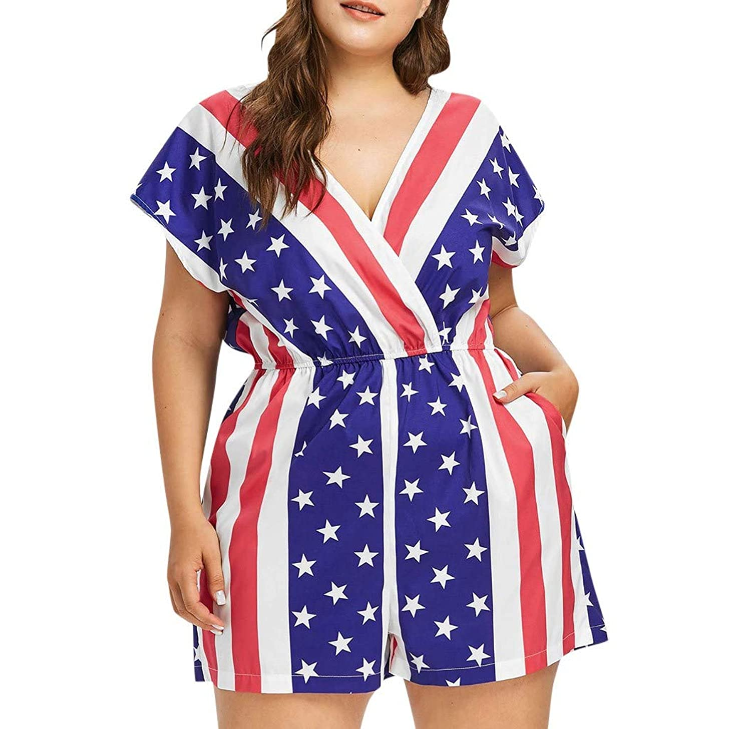 Pumsun ?? Women American Flag Print Plus Size Romper Jumpsuit for 4th of July