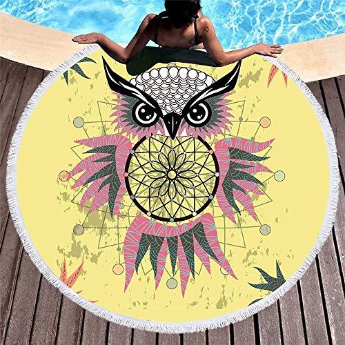 N /A Round BeachModern Meditation Simple Black Owl Shop Dream netTowel Yoga Mat Shawl Tablecloth Picnic Blanket 150CMX150CM
