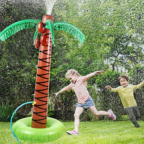 TNELTUEB Inflatable Palm Tree, Sprinkler Toy 67'', Water Play Sprayer for Outdoor Party Lawn Backyard Water Toys with Hose Clamp for Toddler, Kids, Family