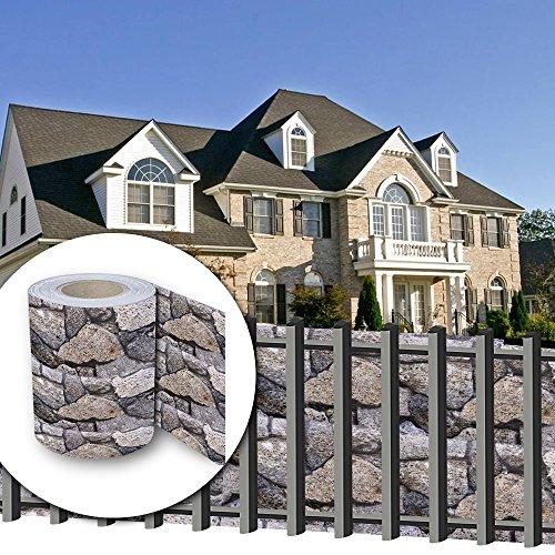 HG® 65mx19cm Sichtschutzfolie PVC Streifen Doppelseitige Beschichtung inkl. Befestigungsclips Sichtschutzstreifen für doppelstabmatten