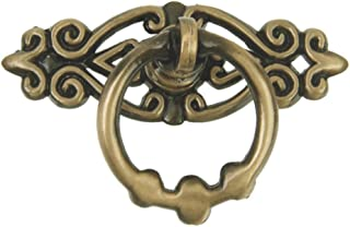 PIXNOR Vintage Kitchen Cabinet Drawer Ring Pull Handles Knobs - 10pcs (Antique Brass)