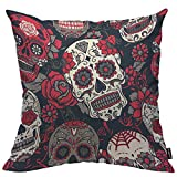 HOSNYE Skull Throw Pillow Case Cushion Covers Day of The Dead Colorful Sugar Skull with Floral Ornament and Flower Cotton Linen for Couch Bed Sofa Car Waist 18 x 18 inch