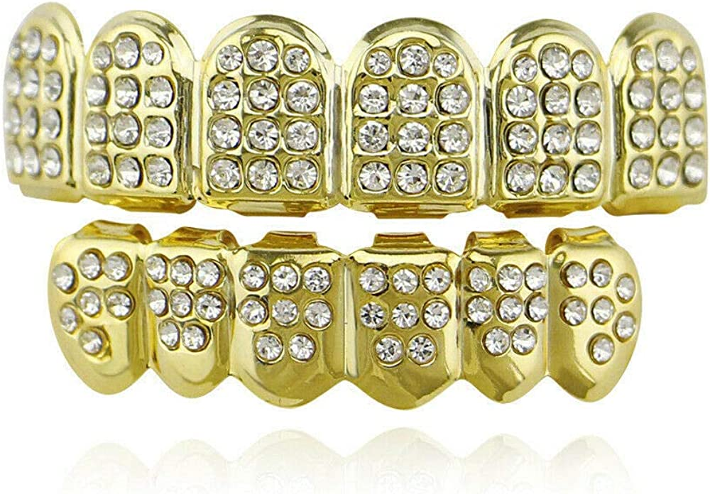 UkrGoods Women Men Hip Hop Style Crystal Brass Grillz Caps Teeth Grills Costume Cosplay - Color: Gold