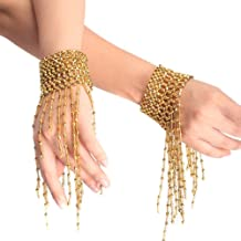 Ewandastore Belly Dance Tassel Wrist Ankle Arm Cuffs Bracelets Wristband Gypsy Jewelry,Halloween Costume Accessory(Gold)