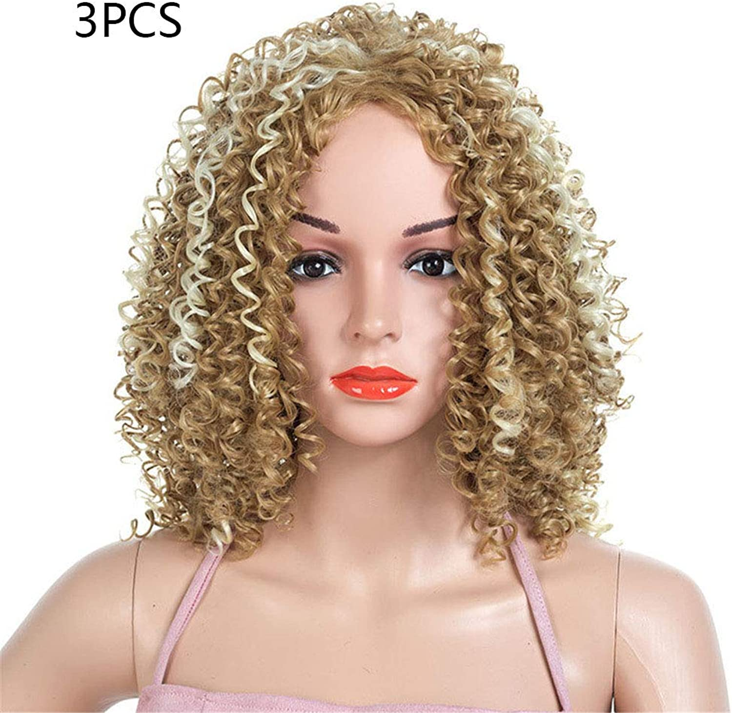 Small Roll Wig Fluffy High Temperature Wire Heat Resistant Fiber Synthetic Lace Party Wigs Cosplay Costume(3PCS)