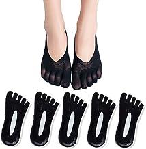 AMIGOGO 5 paires de chaussettes pour femmes, bas de compression, pantoufles à cinq doigts, tache à gel respirant à bout ul...