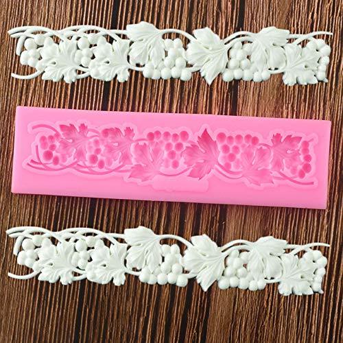 HAOBU Moldes de silicona Uva Vine Lace Fondant Molds Sugarcraft Relief Silicone Mold Herramientas de decoración de pasteles Candy Polymer Clay Chocolate Gumpaste Moldes