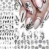 ILOVEDIY 12 Feuilles Autocollants Ongles Fleurs Plume Nail Art Sticker Pochoir DIY