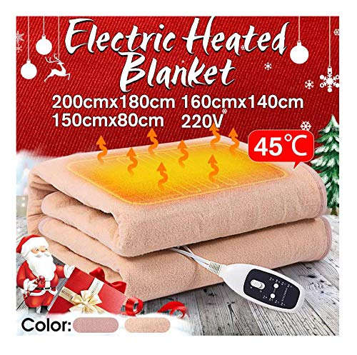 Chang Electric Blanket Soft Waterproof Single Double 220V Electric Heated Blanket Mat 4 Files Dormitory Bedroom Heating Carpet,160 * 140cm