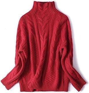Jerséis para Mujer,Moda Otoño Invierno para Mujer Jersey Elástico De Punto para Mujer Suéter De Cuello Alto De Manga Larga...