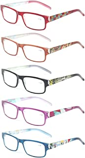 Kerecsen 5 Pack Fashion Unisex Reading Glasses Spring Hinge Pattern Design Readers
