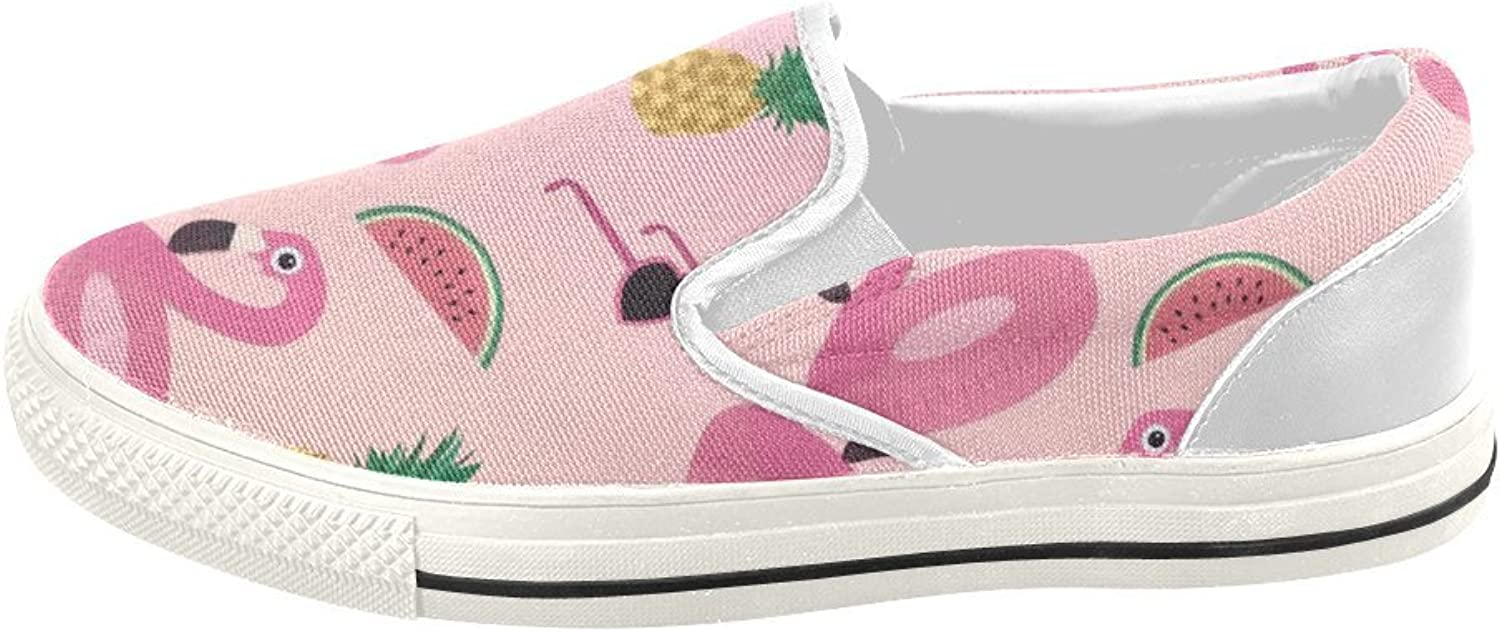 HUANGDAISY shoes Pink Flamingos Swim Pineapple Watermelon Glasses Slip-on Canvas Loafer for Women