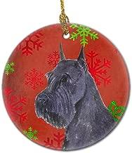 Caroline's Treasures SS4730-CO1 Schnauzer Red Snowflakes Holiday Christmas Ceramic Ornament, Multicolor