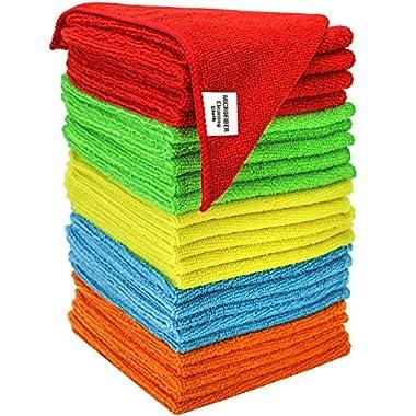 S & T Bulk Microfiber Kitchen, House, Car Cleaning Cloths - 25 Pack, 11.5  x 11.5