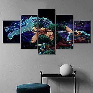 SINGLEAART Impressions sur Toile,5 Tableau Peinture,Une pièce Roronoa Zoro,Décoration Maison Moderne,Modulaire Panneaux Mo...