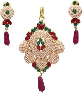 Geode Delight Gold Plated Rajasthani Jadau Moti Beads Pendant Set for Women & Girls