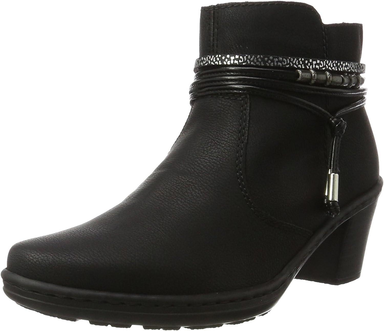 Rieker Women's Black Mid Heel Ankle Boot
