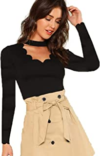 Romwe Women's Scalloped Cut Out V Neck Short Sleeve Sexy Tee Tops Black-2 Large
