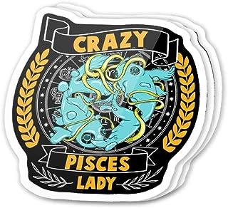 Kachi Art Cool Sticker (3 pcs/Pack,3x4 inch) Crazy Pisces Lady Cute Zodiac Symbol Funny Horroscope Stickers for Water Bottles,Laptop,Phone,Teachers,Hydro Flasks,Car