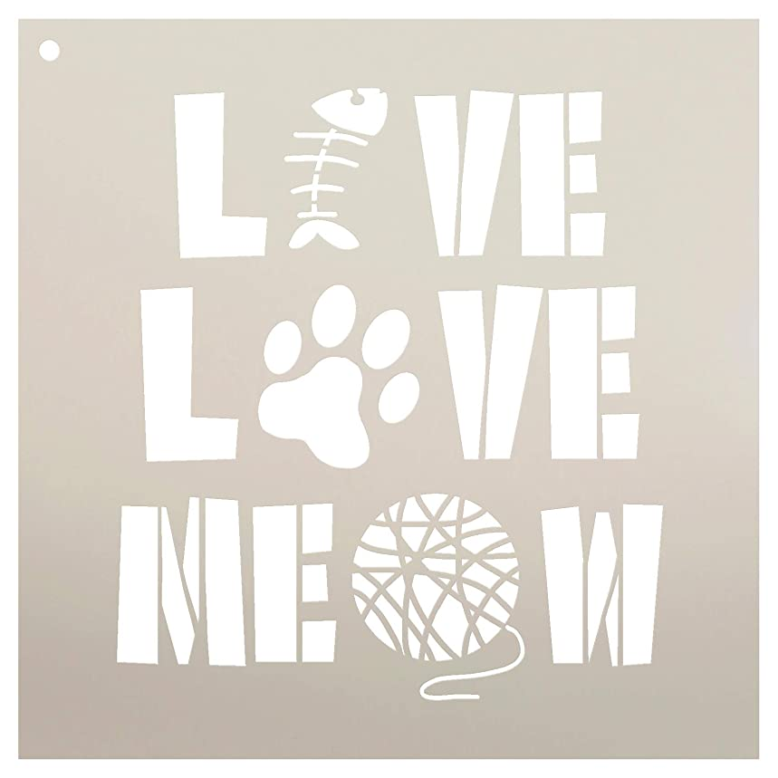 Live Love Meow with Fish Paw Print & Yarn Stencil by StudioR12   Reusable Mylar Template   Use to Paint Wood Signs - Pallets - Pillows - DIY Animal Lover Home Decor - Select Size (9
