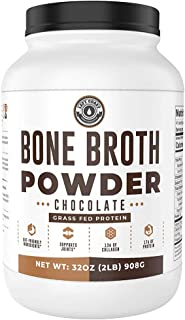 Bone Broth Protein Powder, Chocolate, Grass Fed [2lbs/ 42 servings] 17g protein, 13g Collagen. Low Carb (1 net Carb) Dairy...